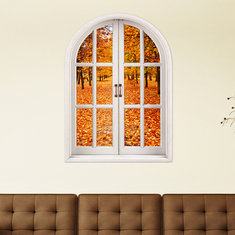 Autumn Leaves 3D Artificial Window View 3D Wall Decals Room PAG Stickers Home Wall Decor Gift