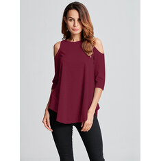 Sexy Women Off Shoulder Irregular Hem T-Shirt