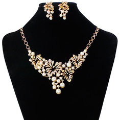 Jewelry Set Party Wedding Statement Necklace Earrings Artificial Pearls Rhinestone