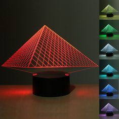 3D Illusion Pyramid 7 Color Change Night Lamp Touch Switch LED Desk Table Light
