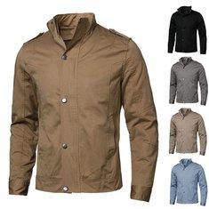 Men's Fashion Korean Collar Coat Slim Washed Jacket