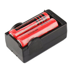 2pcs Elfeland 3800mAh 18650 Li-ion Rechargeable Battery + Dual Charger