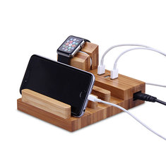 M.Way 3 in 1 Wooden 3 USB Charging Ports Bracket Desktop Phone Holder Stand for Smartphone Apple Watch
