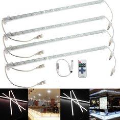 4 x 9W 5630 LED Rigid Strip Light Bar Waterproof White/Warm Car Cabinet Lamp + Remote Dimmer DC 12V