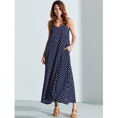 Summer Women Sexy Maxi Dress V-Neck Strap Dot Backless Pockets Dresses