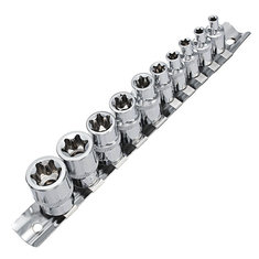 10Pcs E4-E18 Socket Wrench Set 1/4 3/8 Inch Drive Size E Socket Wrench with Storage Rail