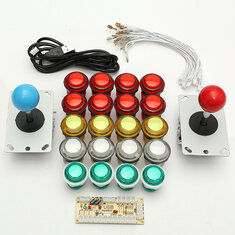 Dual Player USB Encoder 8 Way Joystick  LED Illuminated Buttons PC Arcade Games DIY Kit