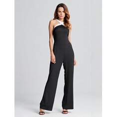 Celmia Casual Women Off Shoulder Sleeveless  Backless Strap Sexy Jumpsuit
