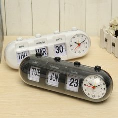 Manual Flip Digital Quartz Alarm Clock Day Date Calendar Time Display