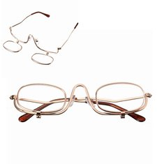 Magnifying Makeup Reading Glasses Eye Spectacles Flip Down Lens Folding Cosmetic Readers