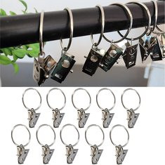 10pcs Metal Shower Curtain Rod Hook with Clip Bathroom Fitting