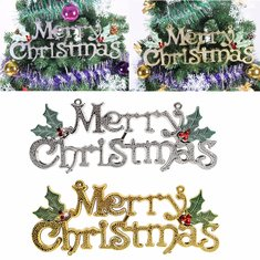 Merry Christmas Words Ornament Pendant Wall Door Xmas Tree Hanging Decoration