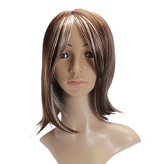 Fashion Women's Short Brown Blonde Natural Straight Cosplay Hair Full Wigs