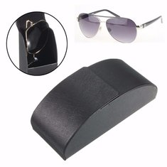Black Leather Iron Metal Curve Arc Hard Case Box for Glasses Sun Glassess