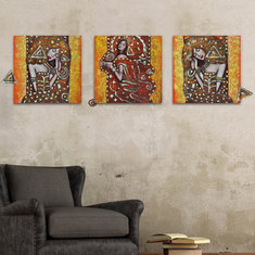 50x50cm 3Pcs Combination DIY Frameless Painting PAG Abstract Characters Figure Paintings Figure Picture Wall