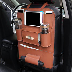 Car Back Seat Multi Pocket Phone Cup Holder PU Leather Seat Organizer Vehicle Auto Seat Storage Bag