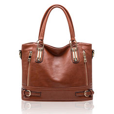 Women Vintage Side Zipper Buckle PU Leather Tote Shoulder Bags