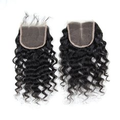 7A 4X4 Virgin Hair Lace Closure Chinese Human Hair Deep Curly Closures Free Middle Part