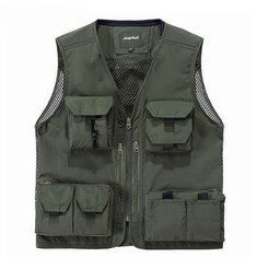 Jeep Rich Multi Functional Outdoor Photography Fishing Gear Multi Pockets Sleeveless Mesh Camereman Vest