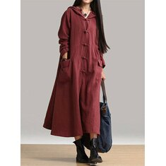 Vintage Plate Buckle Hooded Dress Costs