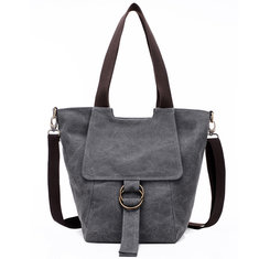 Women Canvas Vintage Pocket Large Capacity Handbag Casual Crossbody Bag Shoulder Bag