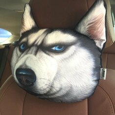 3D Husky Car Head Rest Comfortable Breathable Cartoon Neck Support Pillow