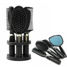 5Pcs Plastic Hair Comb Massage Brush Mirror Set with Hair Modeling Holder Salon Styling Tool