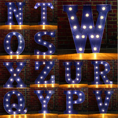 Vintage LED DIY Letter N to Z Sign Blue Decoration Advertising light