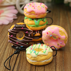 Cute Sweet Scented Cream Cell phone Fruit Donuts Charms Key Strap
