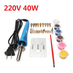 220V 40W Wood Burning Soldering Iron Pen DIY Craft Carving Tools with Tips Set