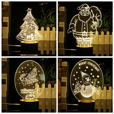 3D LED Night Light Christmas Trees Santa Claus Snowman Table Desk Light Lamp Decor