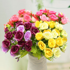 21 Heads Artificial Rose Bouquet Flower Fake Silk Wedding Home Decor Bedroom Decoration Gift