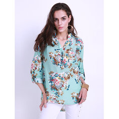 Floral Printed Women V-Neck Long Sleeve Blouses