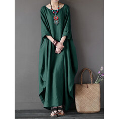 Women Casual Loose Pure Color Baggy 3/4 Sleeve Maxi Dresses