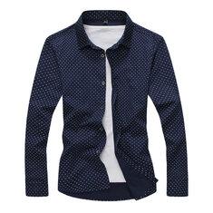Mens Business Comfortable Fashion Casual Printed Long Sleeve Dress Shirt