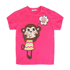 2015 New Summer Baby Girl Children Monkey Rose Red Cotton Short Sleeve T-shirt