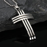 Cross Grid Pendant Chain Stainless Steel Men Silver Necklace Gift