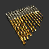 Drillpro DB-T2 13pcs 1.5-6.5mm HSS Titanium Coated 1/4 Inch Hex Shank High Speed Steel Drill Bit Set