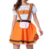 Original Halloween Cute Women Lace Ruffle Clothing Cosplay Beer Oktoberfest Khaki Costumes
