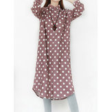 Original vendimia Mujer Corduray Polka Dot Winter Autumn Camisa Vestido