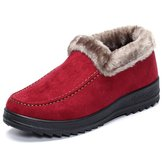 Suede Wool Lining Slip On Ankle Short Snow Boots