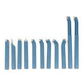 Original 11Pcs Brazed Carbide Tipped Lathe Turning Tool Set 10x10mm Shank Mini Lathe Tool Bit Set