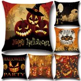 Original Halloween Pumpkin Bat Owl Pattern Pillowcase Cotton Linen Throw Pillow Cushion Cover Seat Home Decoration Sofa Decor