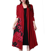 Casual Women Long Sleeve Cotton Linen Floral Printed Cardigan