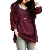 Gracila Vintage Women Pockets Pure Color Loose Long Sleeve Cotton Blouse