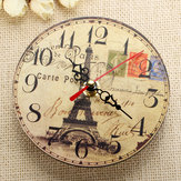 Vintage Wooden Eiffel Tower Wall Clock Home Wall Bar Cafe Decorative Wook Clock
