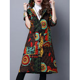 Folk Style Women Hooded Floral Printed Cotton-Padded Long Coat