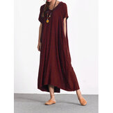 Original Casual Loose Short Sleeve V-neck Pure Color Maxi Dress For Women
