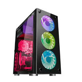 Original Gaming ATX Black Mid Computer PC Cases Tower LED Fan USB Window