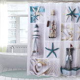 180x180cm Sea Shells Bathroom Shower Curtain with 12 Hooks